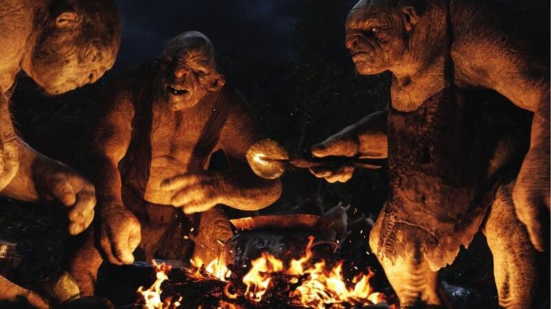 Trolls Berto, Guille y Tom en El Hobbit: Un Viaje Inesperado