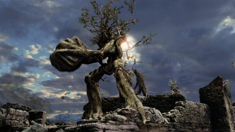 Barbol arrojando rocas en El Señor De Los Anillos: Las Dos Torres